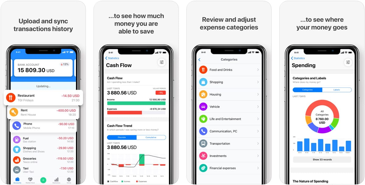 Screenshots of the Wallet budgeting app